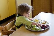"""Nederland, Herpen, 20090128...Kinderopvang 'Op de boerderij' in Herpen...""""OP DE BOERDERIJ"""" kinderopvang..is gevestigd bij een vleesveebedrijf te Herpen...kind eet fruit van een bord. Fruit eten, fruithap....Netherlands, Herpen, 20090128. ..Childcare on the farm in Herpen. ..""""ON THE FARM"""" childcare ..is located at a beef farm in Herpen...eating fruit    .."""