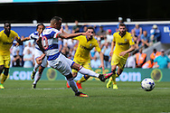 Tjarron Chery of QPR scores his sides 2nd goal from a penalty to make it 2-0. Skybet EFL championship match, Queens Park Rangers v Leeds United at Loftus Road Stadium in London on Sunday 7th August 2016.<br /> pic by John Patrick Fletcher, Andrew Orchard sports photography.