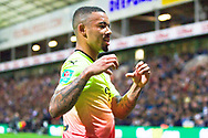 Manchester City forward Gabriel Jesus after scoring the second goal during the EFL Cup match between Preston North End and Manchester City at Deepdale, Preston, England on 24 September 2019.