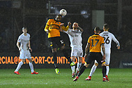 Jamille Matt (11) of Newport County battles for possession with Adam Clayton (8) of Middlesbrough during the The FA Cup match between Newport County and Middlesbrough at Rodney Parade, Newport, Wales on 5 February 2019.