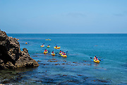 People paddle near Santa Cruz Island, Channel Islands National Park, California, USA.