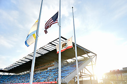 August 29, 2018 - San Jose, California, United States - San Jose, CA - Wednesday August 29, 2018: Flag half staff, Avaya Stadium prior to a Major League Soccer (MLS) match between the San Jose Earthquakes and FC Dallas at Avaya Stadium. (Credit Image: © John Todd/ISIPhotos via ZUMA Wire)
