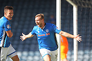 GOAL Steven Davies celebrates scoring the opening goal 1-0 during the EFL Sky Bet League 1 match between Rochdale and Scunthorpe United at Spotland, Rochdale, England on 12 August 2017. Photo by Daniel Youngs.