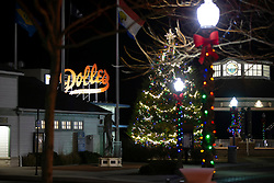 The municipal Christmas tree lights up the night at the foot of Rehoboth Avenue, Monday, Nov. 26, 2018 in Rehoboth Beach, Del. (Photo by D. Ross Cameron)