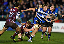 Dominic Day (Bath) goes on the attack - Photo mandatory by-line: Patrick Khachfe/JMP - Tel: Mobile: 07966 386802 16/01/2014 - SPORT - RUGBY UNION -  The Recreation Ground, Bath - Bath Rugby v Bordeaux-Begles - Amlin Challenge Cup.