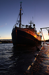 Licensed to London News Pictures. 05/12/2013. North Shields, UK, A high tide of over 6.6m - over 1m higher than predicted - floods the Fish Quay at North Shields. Trawler Success III rises over the quayside as the river Tyne bursts its banks. Photo credit: Adrian Don/LNP