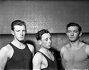 14/01/1953<br /> 01/14/1953<br /> 14 January 1953<br /> Corinthians Boxing Club, Dublin. centre is Michael Lee (Cavan) Lightweight. Left is Peter McBrien, right is Jim McCorthy (Castleisland) Middlelightweight.