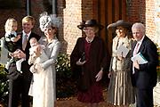 Hare Koninklijke Hoogheid Prinses Alexia, de jongste dochter van Zijne Koninklijke Hoogheid de Prins van Oranje en Hare Koninklijke Hoogheid Prinses Máxima, is zaterdag 19 november 2005 gedoopt in de Dorpskerk in Wassenaar. <br /> <br /> Baptism of Princess Alexia, the youngest daughter of Prince Willem-Alexander and Princess Máxima. Princess Alexia (born June 26, 2005) has been baptized in the church in Wassenaar. The ceremony was attended by The Dutch Royal Family and the parents of Princess Máxima.  <br /> <br /> Op de foto / On the photo:<br /> <br /> <br /> Willem Alexander, Prins van Oranje, Prinses Máxima, Prinses Catharina-Amalia ,Prinses Alexia , Koningin Beatrix, De heer J.H. Zorreguieta en mevrouw M. del Carmen Cerruti de Zorreguieta .<br /> <br /> Willem Alexander, prince of oranje, princess Máxima, princess Catharina-Amalia, princess Alexia, queen Beatrix, J.H. Zorreguieta and Ms M. del Carmen Cerruti the Zorreguieta.