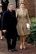 Hare Koninklijke Hoogheid Prinses Alexia, de jongste dochter van Zijne Koninklijke Hoogheid de Prins van Oranje en Hare Koninklijke Hoogheid Prinses Máxima, is zaterdag 19 november 2005 gedoopt in de Dorpskerk in Wassenaar. <br /> <br /> Baptism of Princess Alexia, the youngest daughter of Prince Willem-Alexander and Princess Máxima. Princess Alexia (born June 26, 2005) has been baptized in the church in Wassenaar. The ceremony was attended by The Dutch Royal Family and the parents of Princess Máxima.  <br /> <br /> Op de foto / On the photo:<br /> <br /> <br /> Zijne Koninklijke Hoogheid Prins Filip en Hare Koninklijke Hoogheid Prinses Mathilde van België .<br /> <br /> His royal highness prince Filip and her royal highness princess Mathilde of Belgium.
