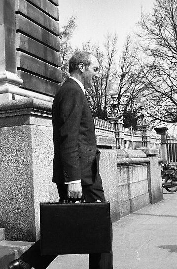 George Colley TD Minister for Finance..Budget Day..1972..19.04.1972..04.19.1972..19th April 1972..Pictured.The Minister for Finance, Mr George Colley, is seen leaving the Finance Department on his way Dail Eireann, Leinster House,Dublin, where he will deliver his budget Speech.