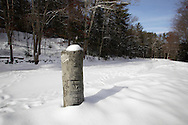 Cuddebackville, New York - A stone snubbing post alongside the frozen canal at the D&H Canal Park on Jan. 22, 2011.