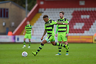 Forest Green Rovers Keanu Marsh-Brown(7) with a shot from a free kick during the EFL Sky Bet League 2 match between Stevenage and Forest Green Rovers at the Lamex Stadium, Stevenage, England on 21 October 2017. Photo by Adam Rivers.