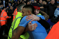 19th December 2017 - Carabao Cup (Quarter Final) - Leicester City v Manchester City - A Man City fan hugs Gabriel Jesus after their victory - Photo: Simon Stacpoole / Offside.
