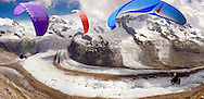 Paragliders over the Gornergletscher  glacier above Zermatt Switzerland .<br /> <br /> Visit our SWITZERLAND  & ALPS PHOTO COLLECTIONS for more  photos  to browse of  download or buy as prints https://funkystock.photoshelter.com/gallery-collection/Pictures-Images-of-Switzerland-Photos-of-Swiss-Alps-Landmark-Sites/C0000DPgRJMSrQ3U