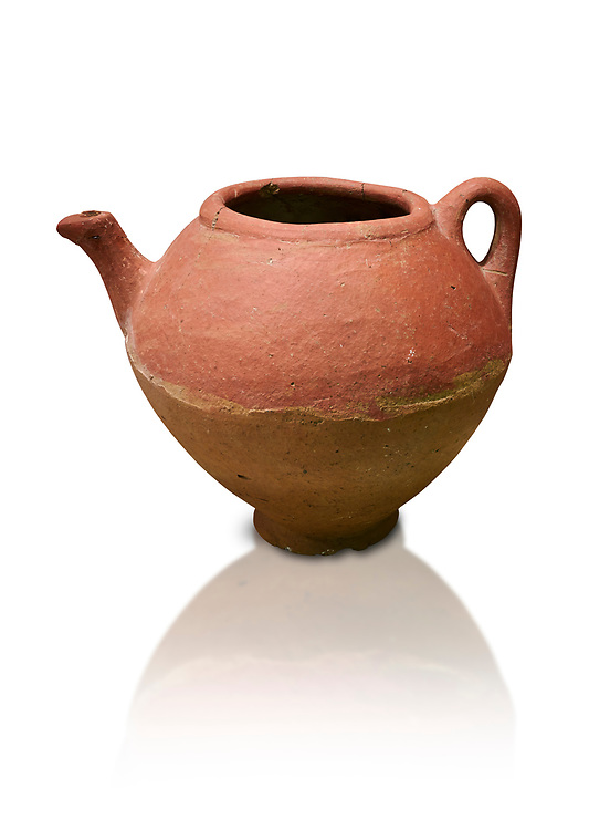 Assyrian Traders terra cotta imported teapot with side spout . 1900 - 1600 BC. Çorum Archaeological Museum, Corum, Turkey. Against a white bacground.