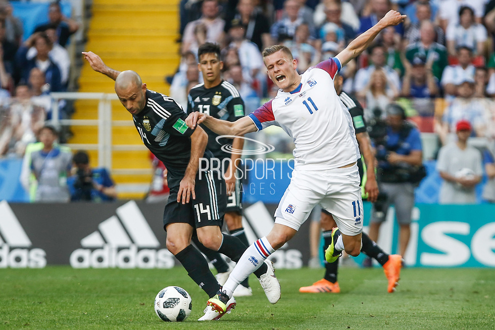 Javier Mascherano of Argentina and Alfred Finnbogason of Iceland during the 2018 FIFA World Cup Russia, Group D football match between Argentina and Iceland on June 16, 2018 at Spartak Stadium in Moscow, Russia - Photo Thiago Bernardes / FramePhoto / ProSportsImages / DPPI