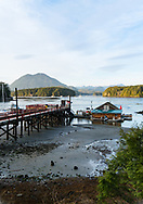 Fishing dock, boats, and the Meares Island mountain landscape in evening light, British Columbia, Canada