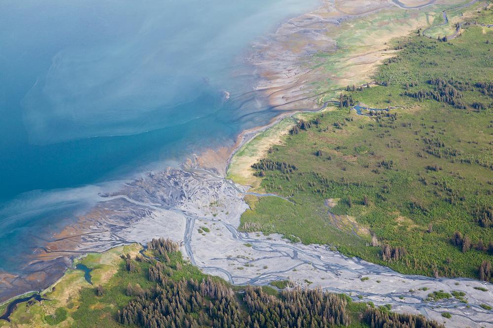 River delta and sediment plumes in College Fjord, Prince William Sound, Alaska.