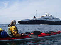 kayaker and ferry, Boknafjorden - kajakkpadler og ferge møtes i Boknafjorden