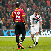 Galatasaray's Tebily Didier Yves Drogba (L) during their Turkish Super League soccer match Galatasaray between Genclerbirligi at the TT Arena at Seyrantepe in Istanbul Turkey on Friday, 08 March 2013. Photo by Aykut AKICI/TURKPIX