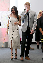 Prince Harry and Meghan Markle during a reception for the Commonwealth Youth Forum at the Queen Elizabeth II Conference Centre, London, during the Commonwealth Heads of Government Meeting.