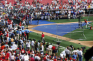 "ST. LOUIS, MO-SEPTEMBER 1998:   A large contingent of media always gathered to watch Mark McGwire #25 of the St. Louis Cardinals take batting practice during what has been called the ""Great Home Run Race of 1998"" between McGwire and Sammy Sosa of the Chicago Cubs.  They were both attempting to break the single season home run record of 61 held by Roger Maris since 1961.  (Photo by Ron Vesely)"