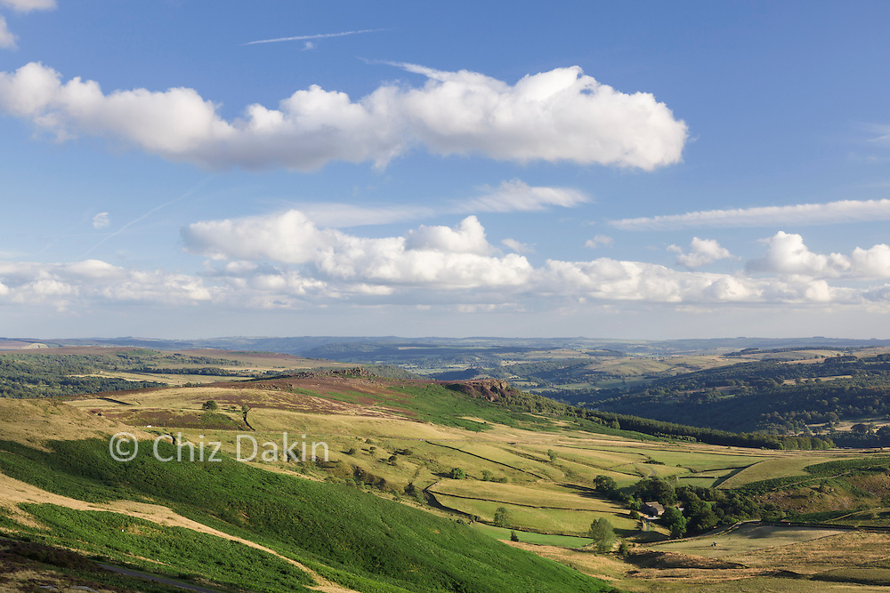 Millstone Edge and Over Owler Tor from Stanage Edge in summer
