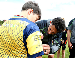 Bryce Heem of Worcester Warriors signs autographs as  Worcester Warriors host a summer holiday rugby camp at Malvern College - Mandatory by-line: Robbie Stephenson/JMP - 16/08/2017 - RUGBY - Malvern College - Worcester, England - Worcester Warriors - Malvern Rugby Camp