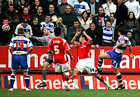 Photo: Tom Dulat.<br /> <br /> Charlton Athletic v Queens Park Rangers. Coca Cola Championship. 27/10/2007.<br /> <br /> Adam Bolder of Queens Park Rangers scores first goal of the game. QPR leads 1-0
