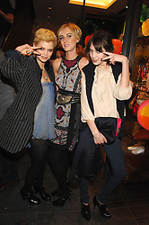 Left to right, PIXIE GELDOF, KIMBERLEY STEWART and ALEXA CHUNG at a party hosted by Mulberry to celebrate the publication of The Meaning of Sunglasses by Hadley Freeman held at Mulberry 41-42 New Bond Street, London on 14th February 2008.<br /><br />NON EXCLUSIVE - WORLD RIGHTS