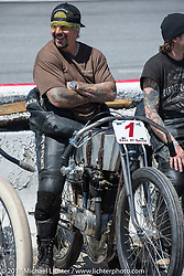 Billy Lane on his 1924 single-speed 1924 Harley-Davidson Model J 62 cubic inch racer in the riders line-up before the start of Billy's Son's of Speed race during Daytona Bike Week. New Smyrna Beach, FL. USA. Saturday March 18, 2017. Photography ©2017 Michael Lichter.