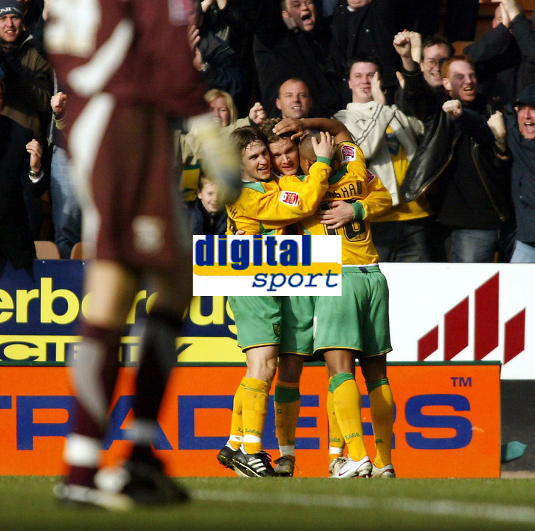 Photo: Chris Ratcliffe.<br /> Norwich City v Ipswich Town. Coca Cola Championship. 05/02/2006.<br /> Jonatan Johansson celebrates after scoring for Norwich