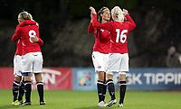 Fotball<br /> Play off til VM for kvinner<br /> 15.09.2010<br /> Norge v Ukraina 2:0 (3:0)<br /> Foto: Morten Olsen, Digitalsport<br /> <br /> Ingvild Stensland - Norge<br /> Norge klar for VM<br /> Jubler sammen med Cecilie Pedersen som gjorde 1-0<br /> Solveig Gulbrandsen som gjorde 2:0 til venstre med nummer 8