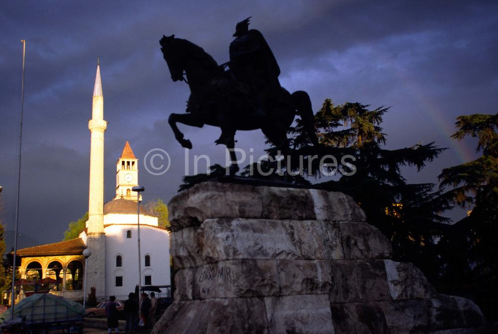 A statue of Skanderbeg, Skanderbeg Square, Tirana, Albania. Gjergj Kastrioti Skanderbeg (1405 ?ƒˆ?—?® 1466) is an Albanian national hero, credited with repelling the Ottoman invasions for two decades.