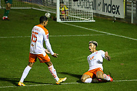 Blackpool's Jordan Lawrence-Gabriel celebrates scoring his side's third goal  <br /> <br /> Photographer Alex Dodd/CameraSport<br /> <br /> FA Cup Second Round - Harrogate Town v Blackpool - Saturday 28th November 2020 - Wetherby Road - Harrogate <br />  <br /> World Copyright © 2020 CameraSport. All rights reserved. 43 Linden Ave. Countesthorpe. Leicester. England. LE8 5PG - Tel: +44 (0) 116 277 4147 - admin@camerasport.com - www.camerasport.com
