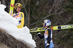 Noriaki Kasai and Adam Malysz at Flying Hill Individual in 2nd day of 32nd World Cup Competition of FIS World Cup Ski Jumping Final in Planica, Slovenia, on March 20, 2009. (Photo by Vid Ponikvar / Sportida)