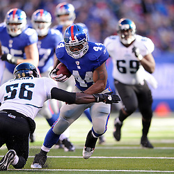 Running back Ahmad Bradshaw #44 of the New York Giants rushes the ball during NFL football action between the New York Giants and Jacksonville Jaguars on Nov. 28, 2010 at MetLife Stadium in East Rutherford, N.J.