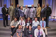 Purchase, NY – 31 October 2014. The winning team from White Plains High School, with members of the African American Men of Westchester and organizers from Morgan Stanley behind them. (Front row, left to right: Jesseca Simpson, Victoria Torres, Frank Marte; second row, Alisa Chaibay, Robert Lovitch, Samarsha Drysdale, Ross Von Doron, and Matthew Garrison.) The Business Skills Olympics was founded by the African American Men of Westchester, is sponsored and facilitated by Morgan Stanley, and is open to high school teams in Westchester County.