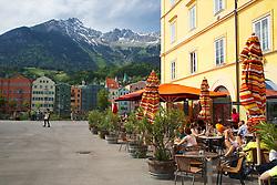 Sidewalk cafe, Innsbruck Austria, old town,  Nordkette Mountain, Inn Valley