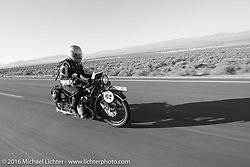 Scott Blaylock riding his 1928 BMW R62 during stage 12 (299 m) of the Motorcycle Cannonball Cross-Country Endurance Run, which on this day ran from Springville, UT to Elko, NV, USA. Wednesday, September 17, 2014.  Photography ©2014 Michael Lichter.