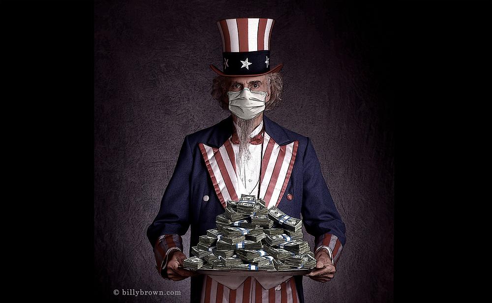 Photo Illustration Uncle Sam Mask Money