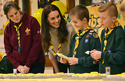 The Duchess of Cambridge ices cupcakes during a Cub Scout Pack meeting with cubs from the Kings Lynn District, in Kings Lynn at the The Scout and Guide Hut in North Wootton, near King's Lynn, for an event to celebrate 00 years of the Cub Scout movement.
