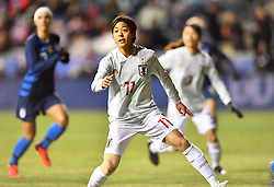 February 27, 2019 - Chester, PA, U.S. - CHESTER, PA - FEBRUARY 27: Japan Forward Rikaka Kobayashi (11) defends near the net in the first half during the She Believes Cup game between Japan and the United States on February 27, 2019 at Talen Energy Stadium in Chester, PA. (Photo by Kyle Ross/Icon Sportswire) (Credit Image: © Kyle Ross/Icon SMI via ZUMA Press)