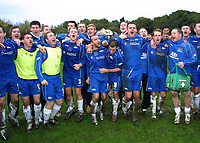 Photo: Dave Linney.<br />Chasetown v Oldham Athletic. The FA Cup. 06/11/2005.<br />Chasetown players celebrate their draw with Oldham.