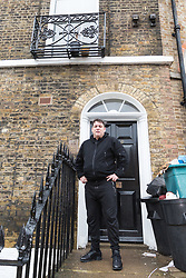 Antony Zomparelli outside the elegant Georgian building housing his two bedroom Islington flat which he bought  through Right-To-Buy in 2014. He has now been asked to pay more than twice the price after the council mistakenly sold it to him as a one bedroom flat, a small 8ft x 8ft box room being considered a second bedroom. London, February 04 2019.