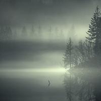Some fine mist hovering across Loch Ard, kinlochard