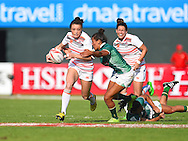 England's Kelly Smith breaks a Brazilian tackle  during the Emirates Dubai rugby sevens match between England  and Brazil  at the Sevens Stadium, Al Ain Road, United Arab Emirates on 1 December 2016. Photo by Ian  Muir.*** during the Emirates Dubai rugby sevens match between *** and ***  at the Sevens Stadium, Al Ain Road, United Arab Emirates on 1 December 2016. Photo by Ian  Muir.