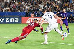 July 29, 2018 - Carson, California, U.S - Zlatan Ibrahimovic #9 of the LA Galaxy beats the goalie for a goal during their game with the Orlando City on Sunday July 29, 2018 at StubHub Center in Carson, California. LA Galaxy defeats Orlando City, 4-3. (Credit Image: © Prensa Internacional via ZUMA Wire)