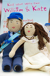 © under license to London News Pictures.  25.01.11.Prince William and Kate Middleton lookalikes, Andy Walker and Kate Bevan with Galt Toys knit your own Royal couple launched at the Olympia Toy Fair.
