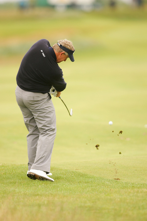 CARNOUSTIE, SCOTLAND - JULY 19:  Colin Montgomerie hits an approach shot during the first round of the 136th Open Championship in Carnoustie, Scotland at Carnoustie Golf Links on Thursday, July 19, 2007. (Photo by Darren Carroll/Getty Images) *** LOCAL CAPTION *** Colin Montgomerie